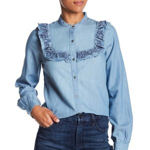 Melrose & Market Chambray Ruffle Button Up Shirt